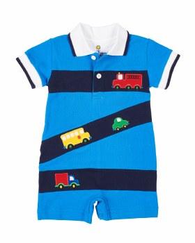 Medium Blue, Navy Knit Pique Shortall, 100% Cotton, Vehicles