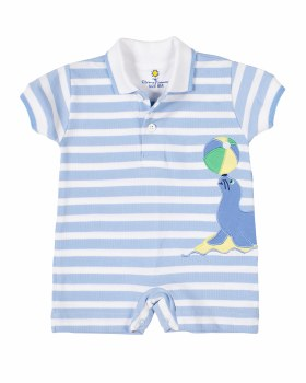 Light Blue Stripe Knit Pique Shortall, 100% Cotton, Seal