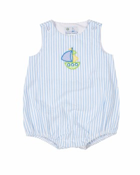 Light Blue Stripe Seersucker Romper, 100% Cotton, Sailboat