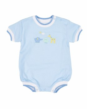 Light Blue Interlock Romper, 100% Cotton, Embroidered Animals