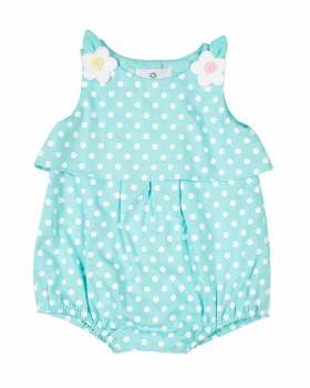 Aqua, White Polka Dot, 100% Cotton, Flared Yoke, Flower Buttons