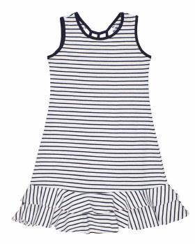 Navy, White Stripe Knit, 97% Cotton 3% Spandex