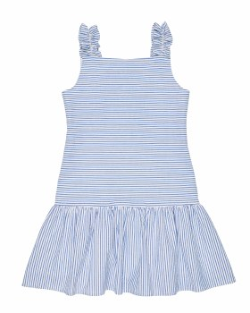Blue and White Stripe Seersucker, 100% Cotton, Lined