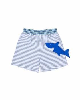 Blue and White Stripe Seersucker, 100% Cotton, Shark, Jock Lined