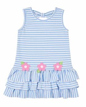 Medium Blue Stripe Interlock Dress, 50% Cotton, 50% Polyester, Flowers