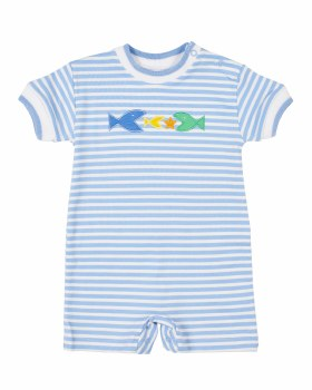 Medium Blue Stripe Interlock Shortall, 50% Cotton, 50% Polyester, Fish