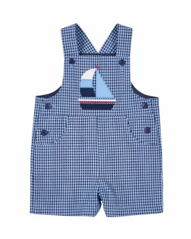 Blue, Navy Check Seersucker Shortall, 65% Cotton,  35% Polyester, Sailboat