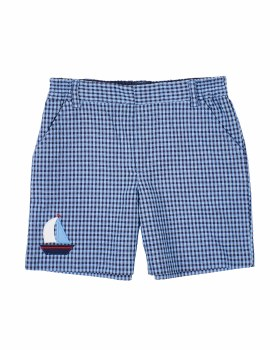 Blue, Navy Check Seersucker Shorts, 65% Cotton, 35% Polyester, Sailboat