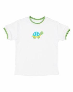 323% White Interlock Tshirt, 100% Cotton,  Lime Tip, Turtle