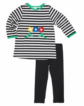 Black & Wht Stripe Knit Tunic With Flowers, Black Leggings