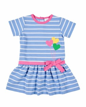 Blue & White Stripe Knit Dress With Hearts