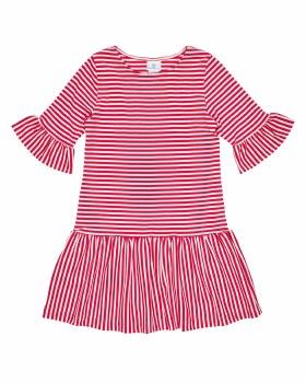 Stripe Knit Dress With Shirred Skirt