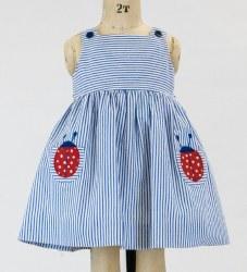 Seersucker Dress With Ladybug