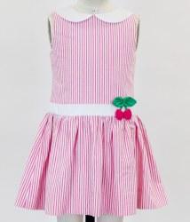 Pink Seersucker Dress With Cherries