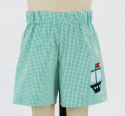 Seersucker Check Shorts With Pirate Ship