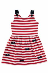 Red Stripe Knit Dress With Bows