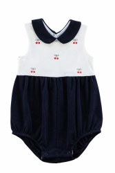 Navy & White Knit Romper With Embroidered Cherries