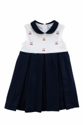 Navy & White Knit Dress With Embroidered Cherries