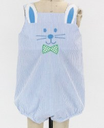 Bunny Romper With Applique Bowtie
