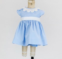 Blue Dot Dress With Petal Sleeves, Bloomer