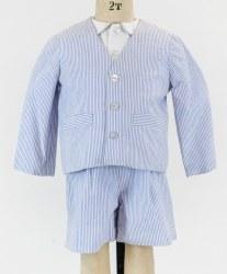 Seersucker Jacket And Short With Woven Short Sleeve Shirt