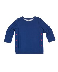 Navy Solid, Side Fuchsia Buttons, Longer Back, Long Sleeves