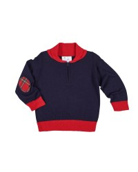 Navy & Red Sweater Knit. 100% Cotton.  Elbow Patches