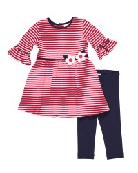 Cerise White Stripe Knit.  50% Cotton 50% Polyester Dress. Navy Leggings