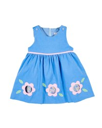 Medium Blue Corduroy Jumper, 100% Cotton, Applique Cutout Flowers