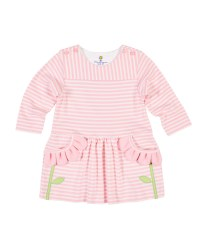 Pink Stripe Interlock Dress, 50% Cotton 50% Polyester,  Flower Petals