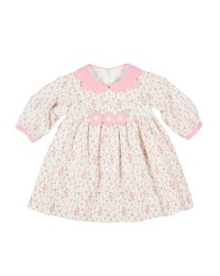 Ivory & Pink Floral Corduroy Dress, 100% Cotton, Appliqued Flowers
