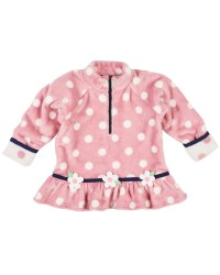 Pink Dot Plush Fleece Top, 100% Polyester,  Navy Trim, Appliqued Flowers