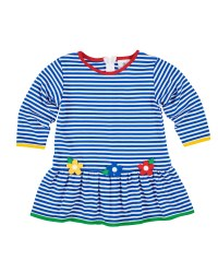 Royal Stripe Interlock Dress, 50% Cotton 50% Polyester.  Flowers