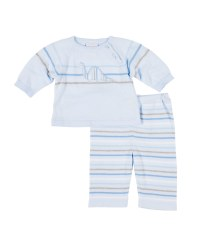 Light Blue  Sweater Knit Top & Pant Set (2Pc), 100% Cotton, Dinosaur