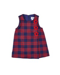 Navy & Red Plaid. 65% Poly 35% Rayon 2% Spandex. Velvet Flowers