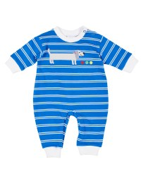 Royal, White Printed Stripe. Weiner Dog Applique
