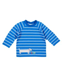 Royal, White Printed Stripe Knit. Raglan sleeves. Weiner Dog Applique