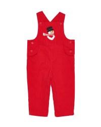 Red Corduroy.  100% Cotton.  Snowman Applique
