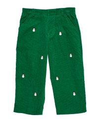 Green Corduroy.  100% Cotton.  Embroidered Snowmen
