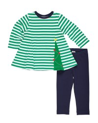 Green White Knitted Stripe. 100% Cotton.  Tree Godet Navy Leggings