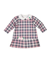Pink/Navy Plaid Dress, 80%Poly/17%Rayon/3% Spandex, Flowers