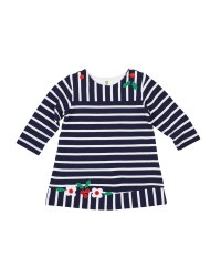 Navy Stripe Knit Pique, 100% Cotton, App Flowers & Holly