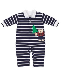 Navy Stripe Knit Pique Longall, 100% Cotton, Lumberjack Bear