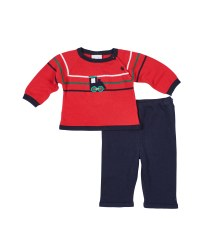 Navy & Red Sweater Knit Top & Pant Set (2Pc), 100% Cotton, Train