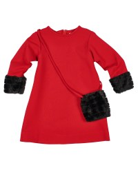 Red Ponte. 67% Rayon 28% Nylon 5% Spandex. Fur Cuffs, Purse