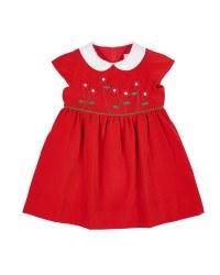 Red Twill Velvet. 100% Polyester/Flowers on Bodice/Lined