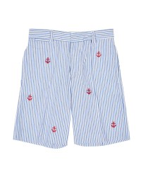 Blue and White Seersucker, 100% Cotton, Embroidered Anchors
