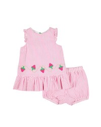 Pink, White Stripe Seersucker, 100% Cotton, Strawberries