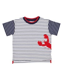 White, Navy Stripe Knit, 97% Cotton 3% Spandex, Lobster Applique