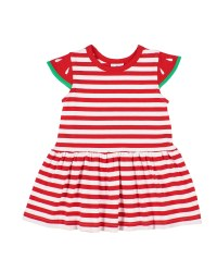Red, White Stripe Knit, 97% Cotton 3% Spandex, Watermelon Sleeves
